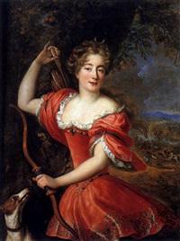 portrait de jeune femme en diane sur fond de paysage by louis ferdinand elle the elder