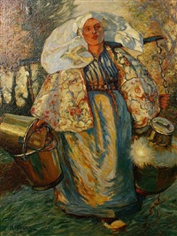 a peasant woman in traditional dress with brass kettles by antonie althuyzen