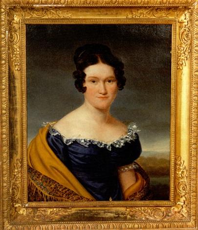 portrait de jeune femme à la robe bleue by henri françois riesener