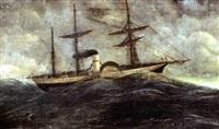 vapeur à roue et à trois mâts dans une mer déchaînée by henri rousseau