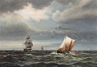 marine with numerous sailing ships by carl ludwig bille