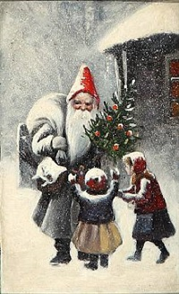 santa claus with two children by paul gustave fischer