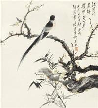 平安长寿 立轴 设色纸本 by various chinese artists