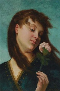 jeune fille à la rose by gustave clarence rodolphe boulanger