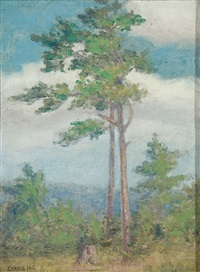 summer landscape with lone pines by caroline carrie lillian hill