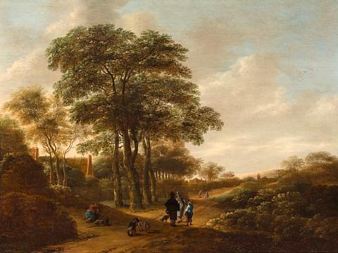 figures in a landscape by pieter jansz van asch