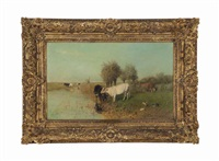 pasture in sunshine by willem maris