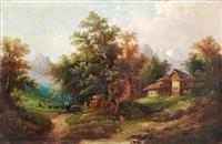 alpenhof mit gebirgsbach by heinrich eduard muller