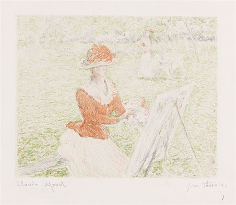femme au chevalet lithographed by georges william thornley by claude monet
