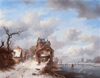 winter landscape with skaters on the river and strollers alongside on a village path by frederik marinus kruseman