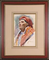 portret kobiety w stroju ludowym (na odwrocie szkic rysunkowy portretu) by stanislaw kamocki