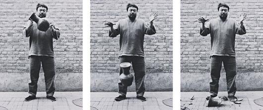 dropping a han dynasty urn (triptych) by ai weiwei