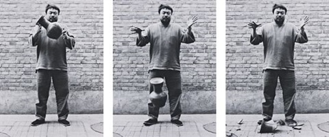 dropping a han dynasty urn triptych by ai weiwei