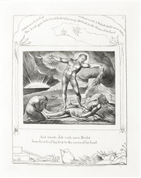 and smote job with sore boils from the sole of his foot to the crown of his head (from illustrations for the book of job) by william blake