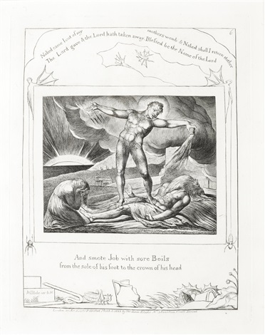 and smote job with sore boils from the sole of his foot to the crown of his head from illustrations for the book of job by william blake