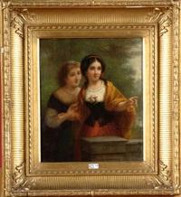 deux élégantes à la balustrade by josef cornelius correns