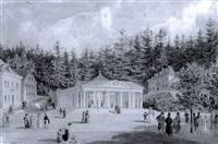 der kreutzbrunnen in marienbad mit staffage by eduard gurk