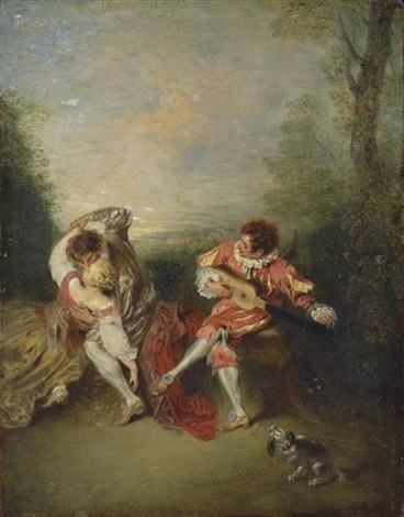 la surprise a couple embracing while a figure dressed as mezzetin tunes a guitar by jean antoine watteau