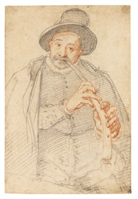 portrait of a man playing a horn by federico zuccaro