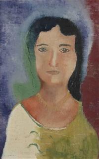 vrouwenkop met gele halsketting by hendrik nicolaas werkman