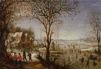 paysage d'hiver avec patineurs by jacques fouquieres