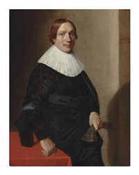 portrait of a man, half-length, in a black doublet and cloak, with a ruff, resting his right hand on a table and holding a glove by jan daemen cool