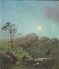 deer by moonlight by robert henry roe