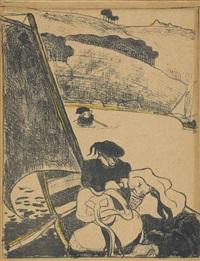 le retour du pardon ou bretons en barque by émile bernard