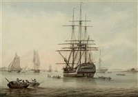 a british frigate at anchor with other shipping in the distance by samuel atkins