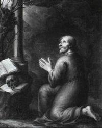 a hermit at prayer by pieter abrahamsz ykens