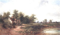 landscape with figures near a cottage by james burrell