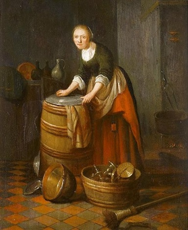 a kitchen interior with a young woman polishing brass by jacob van spreeuwen