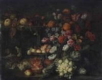bouquet de fleurs, fruits et légumes sur une terrasse by guilliam gabron