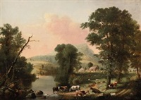cows resting near a river by george henry durrie