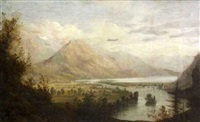 extensive lake and mountain landscape by john burley waring