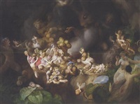 titania's elves robbing the squirrel's nest - a midsummer night's dream by robert (huskisson) huskinson