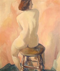 seated nude by carl frederick gaertner