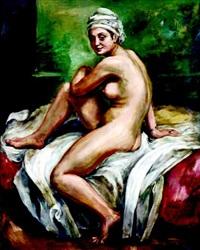 siedząca naga kobieta by roman kramsztyk
