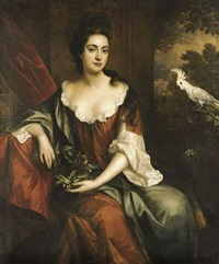portrait of a lady seated in a brown dress with a blue cloak, holding an orange blosson, by a red curtain with a white cockatoo, a landscape beyond by john van der vaart