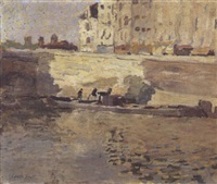 paris, barge le long de quais by frank edwin scott