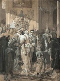 posłaniec wojewody przybywa z listem do miecznika by elviro michael andriolli
