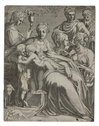 holy family with saints by leonard thiry