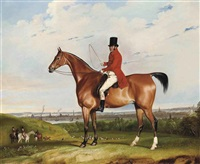 william bolton aspinall with the hooton, cheshire foxhounds, with the river mersey and liverpool beyond by thomas weaver