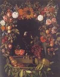 an allegory of the pleasures of wine, encircled by a garland of fruit and flowers by david hennekyn