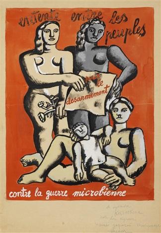 composition aux quatre figures affiche pour lentente entre les peuples pour le désarmement contre la guerre microbienne by fernand léger