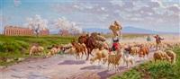 hirtin mit ihrer herde in der römischen campagna by alfredo de simoni