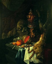 nature morte au hanap, fruits et lièvre sur un entablement by christian striep