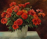 red chrysanthemums in a vase by olga (grand duchess) alexandrovna