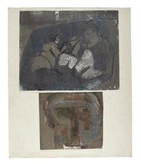 two figures (+ 3 others; 4 works on 2 sheets) by bruce mclean