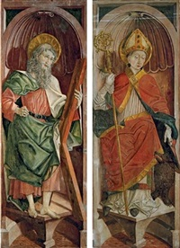 st. andrew, left wing from an altarpiece; st. korbinian, right wing from an altarpiece; pair) by friedrich pacher